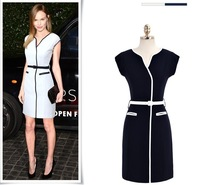 2014 Spring Summer Girl Vintage Swan Wrap-Over Collar Evening Party Casual Dress White black S-XL D0234