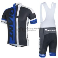 2014 NEW! Giant blue team short sleeve cycling jersey bib shorts set bike bicycle wear clothes jersey bib pants,Free shipping!