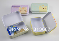 6Pcs Fashionable Aluminum Rectangle Shaped Iron Tin Storage Box Trinket Candy Jewelry Box Pill Box Containers -Free Shipping