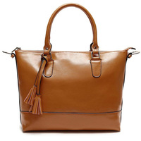 100% Genuine Oil Leather Handbags Womens Shoulder Bags Tote Vintage Satchel bags free shipping