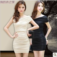 2014 Spring And Summer Women'S Sexy Nightclub Slim Was Thin Bra Fold Package Hip Tight Dress
