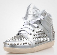 2014 Spring Top Sale  Marant Women Sneakers Height Increasing Shoes Genuine Leather  metal rivets casual high-top lace-up shoes