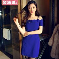 Fashion slim hip sexy strapless spaghetti strap basic dress one-piece dress