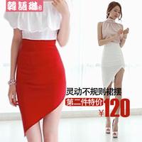 Fashion elegant women's paragraph summer sexy high waist slim hip skirt dovetail irregular female bust skirt