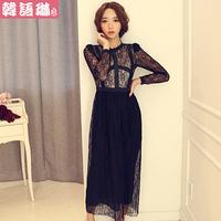 2014 spring women one-piece dress slim long-sleeve lace patchwork full dress formal dress