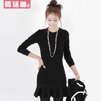 Spring 2014 ruffle slim sexy hip slim knitted sweater long-sleeve basic one-piece dress