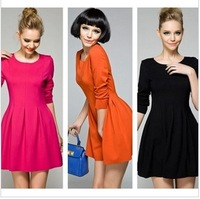 2014 Spring women dress small vintage puff dress fashion star elegant slim dress