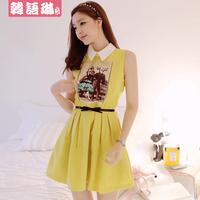 2014 women's spring slim elegant peter pan collar slim chiffon one-piece dress