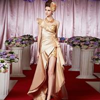 Creative fox 2013 gold flower decoration evening dress formal dress trailing the show formal dress 30350