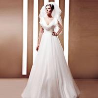 Creative fox wedding customize V-neck thin wedding dress formal dress the bride wedding dress 90080
