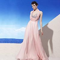 Creative fox winter long design Pink evening dress evening dress one-piece dress bride 56922 banquet