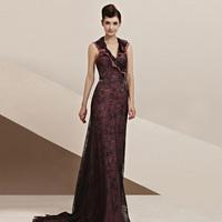 Creative fox unique elegant ruffle neckline formal dress quality bride formal dress star slim waist formal dress 30116