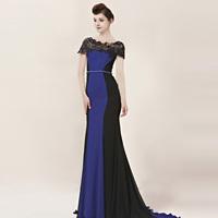 Creative tocsins elegant royal elegant lace flower slit neckline formal dress train formal dress classic 30016