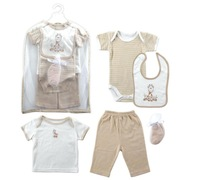 Baby Clothes Set,Baby Gift Collection Baby bodysuit, t-shirt, pants, bib, cap and booties Set, 0-3 Months