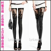 2013 fashion gothic punk faux leather slim lace legging elastic ankle length legging