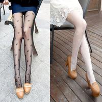 2013 spring Core-spun Yarn pantyhose double heart of love stockings