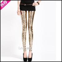Fashion gold 2013 splash-ink serpentine pattern legging