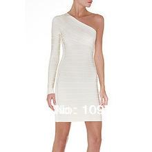 2014 new fashion women white One shoulder long sleeve celebrity dress par