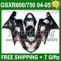 7gifts+Cowl GSX-R750 For SUZUKI ALL Black K4 GSX-R600 04 05 Bodywork C#107J4 GSXR600 Gloss black  GSXR750 2004 2005 Fairing