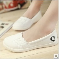 2014 Women canvas shoes casual shoes pedal shoes lazy white flat shoes