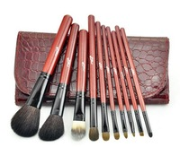 MSQ Brushes natural animal hair 10 PCS Cosmetic brush set upscale makeup tools With Leather Bag