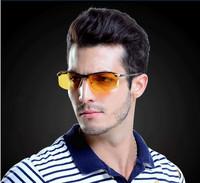 New 2014 Fashion Brand Night Vision Polarized Sunglasses Men Driving Glasses Metal Men Fishing Outdoor Sport Cycling Eyewear+Box