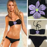 Bikini Swimwear women candy color push up free Shipping Sexy Fashion Pretty brand Swimsuit black