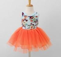 Retail Hot New 2014 summer girl clothing,2-7Y baby girls princess dress,flower/gauze/button/dot,brand new high children clothe,