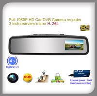 3 inch rearview mirror 1080P Full HD car dvr camera G-sensor SOS