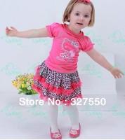 Retails !2014 Children Girl's Skirt Suit hello kitty dress baby Clothing  shirt + leopard tutu skirt girls clothes set GQ-345