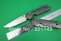 Chris Reeve Classic Sebenza Camping Folding Knives,CR 440C Blade All Steel Handle Raised Grain Survival Pocket Knife.