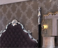 Wallpaper roll free shipping ! Europe damask wallpaper emboosed grey modern TV and sofa background wallpaper for walls roll
