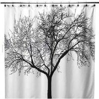 European style Big Black Scenery Tree Design Bathroom Waterproof Fabric Shower Curtain