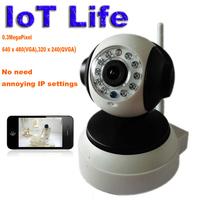 IoT P2P Plug and Play 0.3MegaPixel CCTV Wifi Wireless P2P IP Camera SD Card Slot IR Cut Free Iphone Android App Software Panda