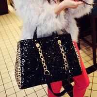 female bags paillette big bag leopard print vintage bag brief chain one shoulder handbag