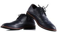 Commercial fashion casual leather lacing formal skateboarding shoes brockden vintage pointed toe shoes carved leather