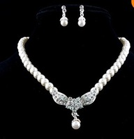 Korea Style Lady  Cream Imitate Pearl Crystal  Flower  Dangle  Necklace Earring  Bridal Party  Jewelry Set