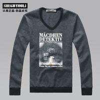 2013 spring male sweatshirt fashion print pullover slim coat td0027