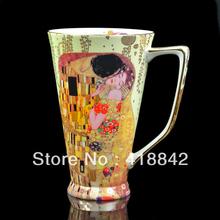 Fine Bone China Rare Gustav Klimt Kiss Art Coffee Set Tea Mug Cup
