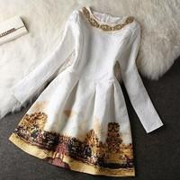Autumn/Winter Elegant Handmade Beading Embroidery Western Style Dress, Free Shipping Dobby Cotton Dress