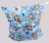 waterproof Baby diapers double zipper bags,printed Diaper Zipper Wet bag,2pcs/lot