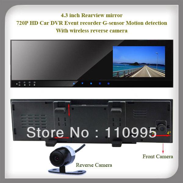 Hot sell HD Car DVR 720P Resolution + Front camera record + wireless reversing camera + G-sensor(China (Mainland))