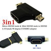 3 in1 Micro HDMI male + Mini HDMI male to HDMI 1.4 Female cable adapter converter for HDTV 1080P hdmi cables COMBO