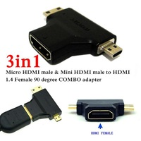 3 in1 Micro HDMI male + Mini HDMI male to HDMI 1.4 Female cable adapter converter for HDTV 1080P hdmi cables COMBO