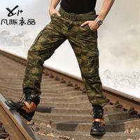 Camouflage pants male trousers overalls outdoor casual loose multi pocket pants military plus size promotion