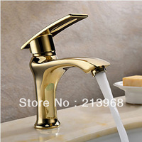 Ti-PVD Finish Solid Brass Single Handle Centerset Bathroom Sink Faucet