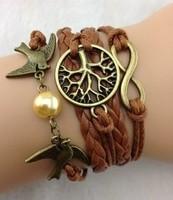 Infinity love bracelet , Wish Tree & Couple bird Charm Bracelet--Antique Silver Bracelet   Imitation Leather Bracelet