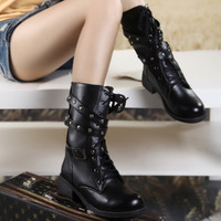 Vintage fashion boots martin boots wedges thick heel buckle motorcycle boots female shoes