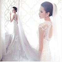 2014 new free shipping  Lace princess bride dress  racerback fish tail long trailing