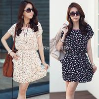 2014 spring and summer women's basic mm plus size slim hip short slim chiffon short-sleeve dress